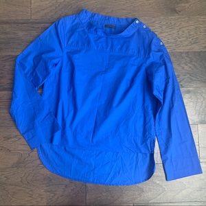 J Crew Funnel Neck Sapphire Button Collar Shirt